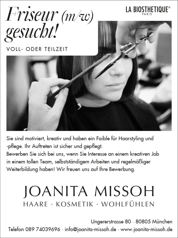 Friseur m nchen schwabing kosmetik beauty salon for Stellenanzeigen in munchen